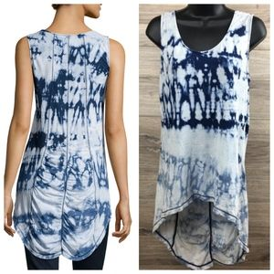 XCVI scoop neck tie dye rouched high low tank